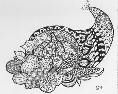 Drawing - Cornucopia 1 by Quwatha Valentine