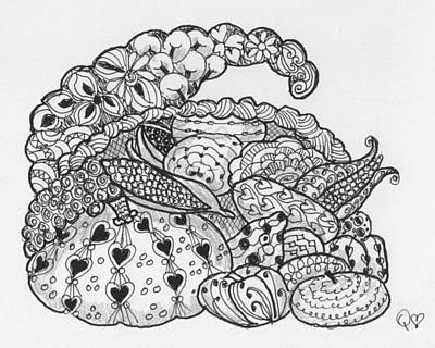 Drawing - Cornucopia 2 by Quwatha Valentine