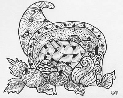 Drawing - Cornucopia 3 by Quwatha Valentine