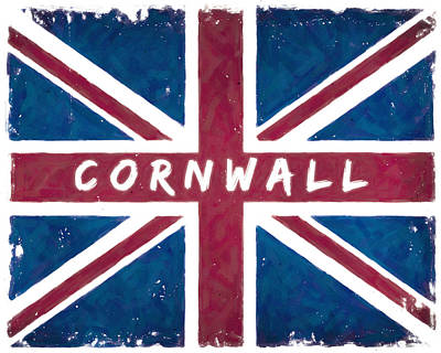 Digital Art - Cornwall Distressed Union Jack Flag by Mark E Tisdale