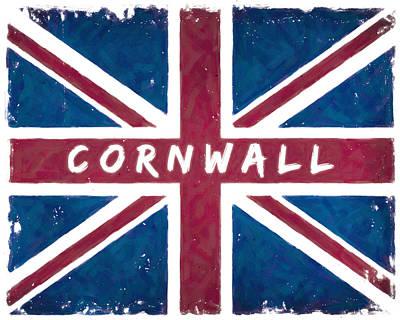 England Digital Art - Cornwall Distressed Union Jack Flag by Mark E Tisdale