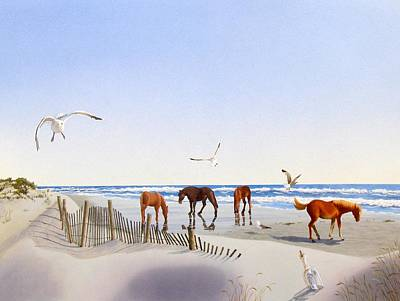 Painting - Corolla Beach by C Robert Follett