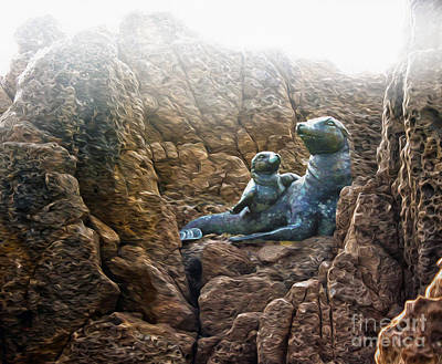 Corona Del Mar Seals Statue Art Print by Gregory Dyer