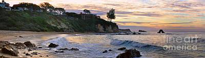 Photograph - Corona Del Mar Sunrise Panorama by Eddie Yerkish