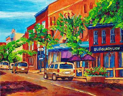 Streets Of Verdun Montreal By Carole Spandau Painting - Corona Theatre Presents The Burgundy Lion Rue Notre Dame Montreal Street Scene By Carole Spandau by Carole Spandau