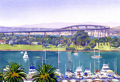 Bay Painting - Coronado Bay Bridge by Mary Helmreich