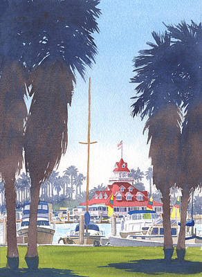 Yachts Painting - Coronado Boathouse And Palms by Mary Helmreich