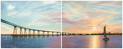 Pastel - Coronado Bridge Sunset Diptych by Michael Heikkinen