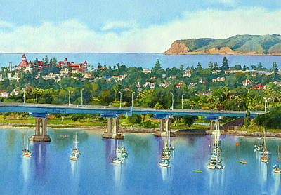 Bridge Painting - Coronado Island California by Mary Helmreich