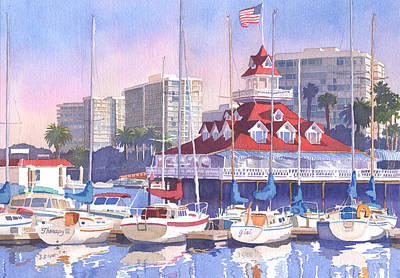 Boathouse Painting - Coronado Shores by Mary Helmreich