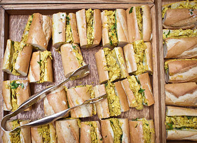 Wooden Platters Photograph - Coronation Chicken Baguettes by Tom Gowanlock