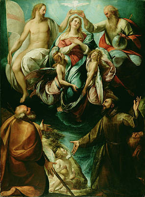 Cesare Painting - Coronation Of The Virgin With Saints Joseph And Francis by Litz Collection