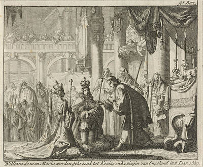 Westminster Abbey Drawing - Coronation Of William IIi And Mary II, 1689 by Jan Luyken And Jurriaen Van Poolsum