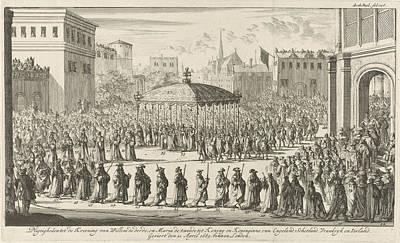 Westminster Abbey Drawing - Coronation Procession Of William IIi, 1689 by Jan Luyken And Jan Claesz Ten Hoorn