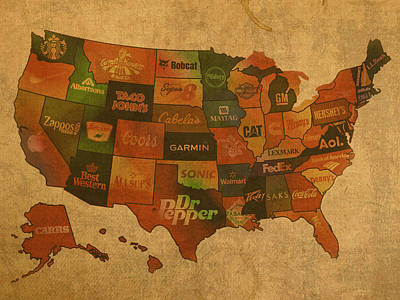 Maps Mixed Media - Corporate America Map by Design Turnpike