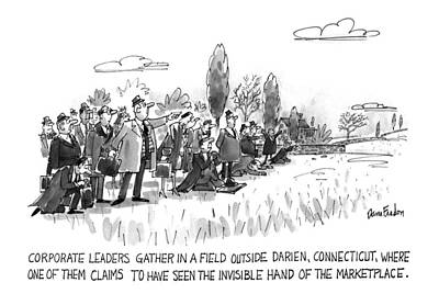 Marketplace Drawing - Corporate Leaders Gather In A Field by Dana Fradon