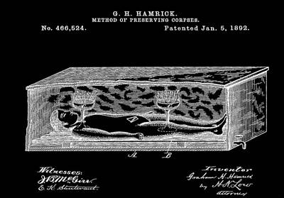 Horror Movies Mixed Media - Corpse In Coffin Patent by Dan Sproul