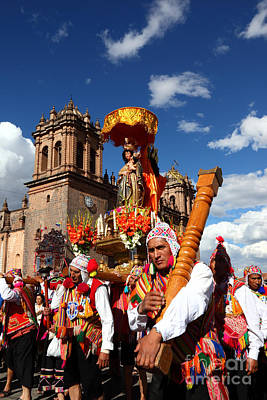 Natividad Photograph - Corpus Christi Parade In Cusco by James Brunker