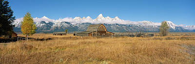 Corral And Old Barn In A Field, Grand Art Print