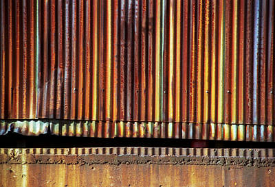 Photograph - Corrugated Metal Orange Wall by Greg Kluempers
