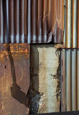 Photograph - Corrugated Metal Wall With Shadow by Greg Kluempers