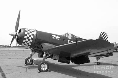 Photograph - Corsair Fighter In Black And White by M K Miller
