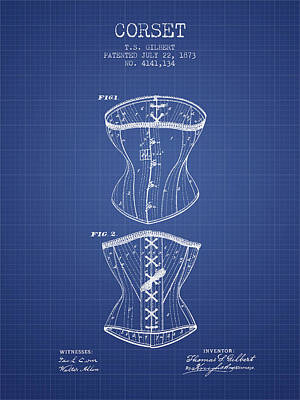 Vintage Dress Drawing - Corset Patent From 1873 - Blueprint by Aged Pixel