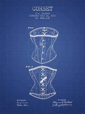 Corset Patent From 1873 - Blueprint Art Print