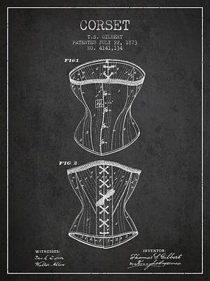Vintage Dress Drawing - Corset Patent From 1873 - Dark by Aged Pixel