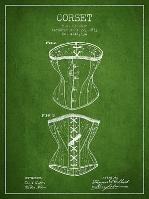 Vintage Dress Drawing - Corset Patent From 1873 - Green by Aged Pixel