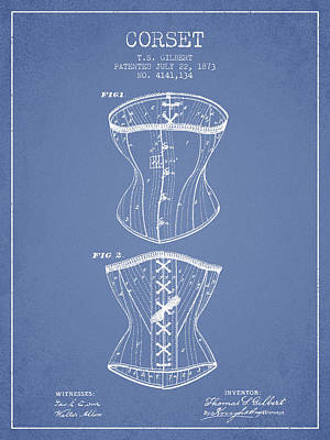 Vintage Dress Drawing - Corset Patent From 1873 - Light Blue by Aged Pixel