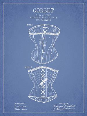 Corset Patent From 1873 - Light Blue Art Print