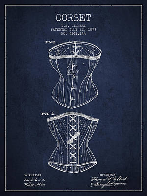 Vintage Dress Drawing - Corset Patent From 1873 - Navy Blue by Aged Pixel