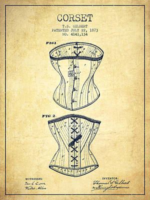Vintage Dress Drawing - Corset Patent From 1873 - Vintage by Aged Pixel