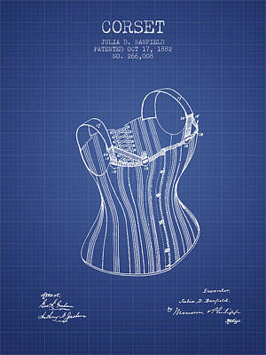 Corset Digital Art - Corset Patent From 1882 - Blueprint by Aged Pixel