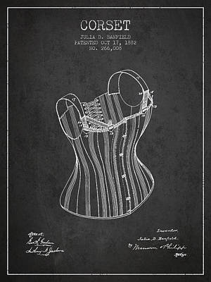 Vintage Dress Drawing - Corset Patent From 1882 - Dark by Aged Pixel