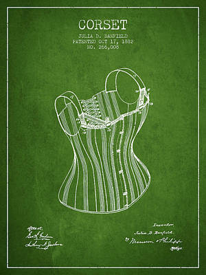 Vintage Dress Drawing - Corset Patent From 1882 - Green by Aged Pixel