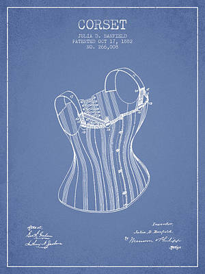Corset Digital Art - Corset Patent From 1882 - Light Blue by Aged Pixel