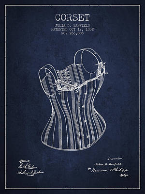 Corset Digital Art - Corset Patent From 1882 - Navy Blue by Aged Pixel