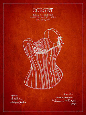 Vintage Dress Drawing - Corset Patent From 1882 - Red by Aged Pixel