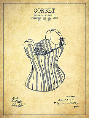 Vintage Dress Drawing - Corset Patent From 1882 - Vintage by Aged Pixel
