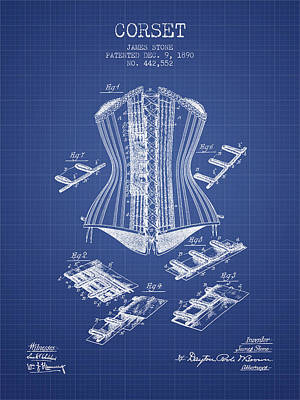 Corset Digital Art - Corset Patent From 1890 - Blueprint by Aged Pixel