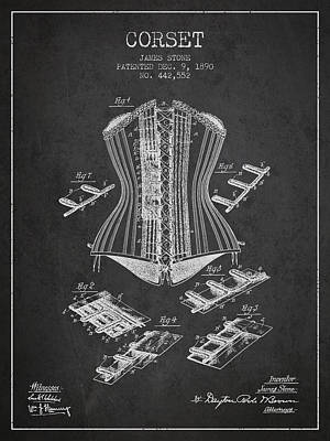 Vintage Dress Drawing - Corset Patent From 1890 - Dark by Aged Pixel