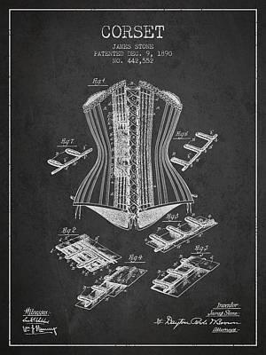 Corset Patent From 1890 - Dark Art Print