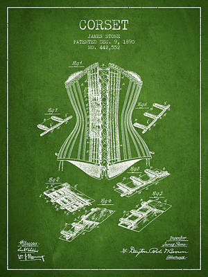 Corset Digital Art - Corset Patent From 1890 - Green by Aged Pixel