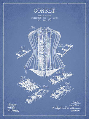 Vintage Dress Drawing - Corset Patent From 1890 - Light Blue by Aged Pixel
