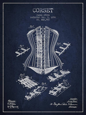 Vintage Dress Drawing - Corset Patent From 1890 - Navy Blue by Aged Pixel