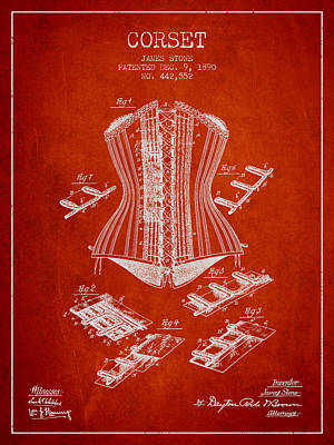 Vintage Dress Drawing - Corset Patent From 1890 - Red by Aged Pixel