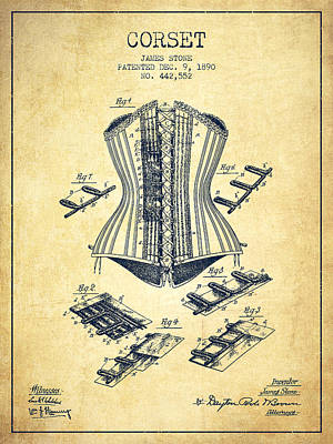 Vintage Dress Drawing - Corset Patent From 1890 - Vintage by Aged Pixel