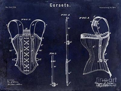 1874 Photograph - 1874 Corsets Patent Blue by Jon Neidert